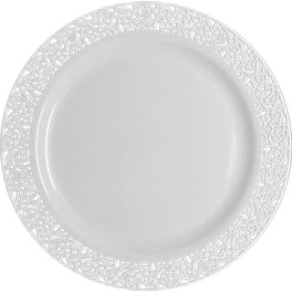 Table To Go 'I Can't Believe It's Plastic' Ivory Plastic 7.5-inches Lace Design Plates (Case of 50)