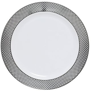 Table To Go 'I Can't Believe It's Plastic' Silver Florence White Plastic 10-inch Dinner Plates (Case of 50)