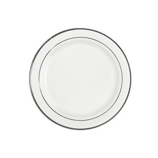 Table To Go I Can't Believe It's Plastic White Plastic 10-inch New Lines Design 50-piece Dinner Plate Set