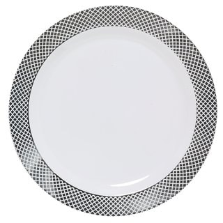 Table To Go I Can't Believe It's Plastic' White Plastic 7.5-inches Silver Florence Design Salad Plates (Case of 50)