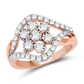 Olivia Leone 14k Rose Gold 5/8ct TDW Diamond Ring