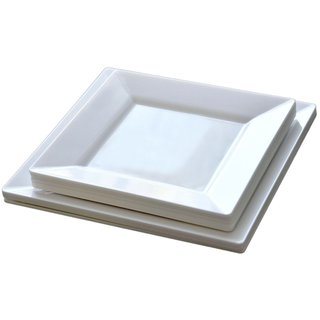 Table To Go 'I Can't Believe It's Plastic' White Plastic 6.5-inch Square Pearl Salad Plates (set of 50)