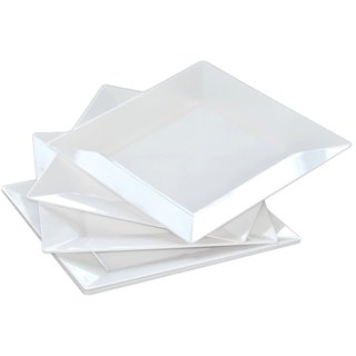 Table To Go 'I Can't Believe It's Plastic' White Plastic 9.5-inch Square Pearl Design Dinner Plates (Case of 50)