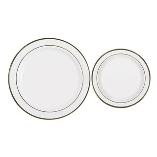 Table To Go Plasticware New Lines Design White Plastic 50-piece Plate Set, 25 10-inch Dinner Plates, 25 7.5-inch Salad Plates