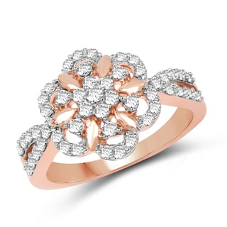 Olivia Leone 14k White and Rose Gold 1/2ct TDW Diamond Ring (G-H, SI1-SI2)