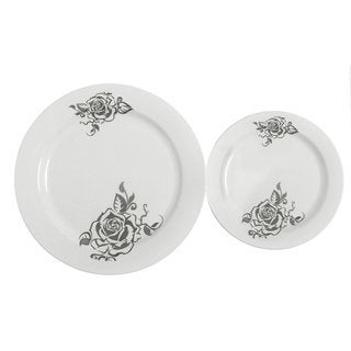 Table To Go 'I Can't Believe its Plastic' White Plastic Flower Design 25 10-inch Dinner Plates/25 7.5-inch Salad Plates