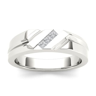 De Couer 14k White Gold 1/6ct TDW Mens Wedding Band