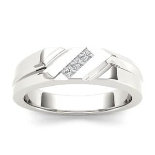 De Couer IGI Certified 14k White Gold 1/6ct TDW Mens Wedding Band