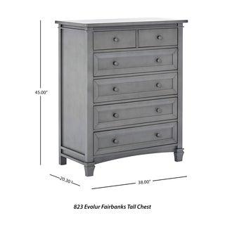 Evolur Fairbanks Grey Wood 6-drawer Dresser