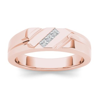 De Couer 14k Rose Gold 1/6ct TDW Mens Wedding Band - Pink