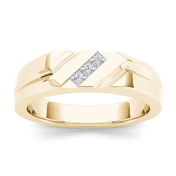 De Couer IGI Certified 14k Yellow Gold 1/6ct TDW Mens Wedding Band