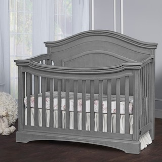 Evolur Adora Curve Top Collection Grey 4-in1 Convertible Wood Crib