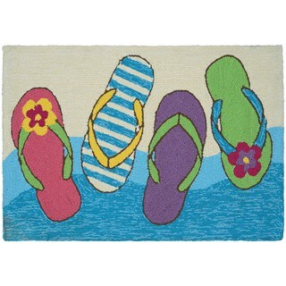 Hand-Hooked Couristan Covington Accents Flip Flopped Area Rug (2' x 3') - 2' x 3'