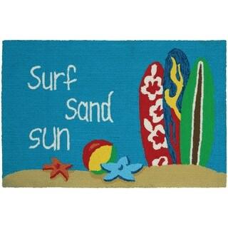 Hand-Hooked Couristan Covington Accents Surf Sand Sun Area Rug (2' x 3')