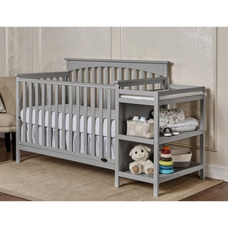 Dream On Me Chloe Grey Wood 5-in-1 Convertible Crib with Changer