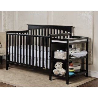 Dream On Me Chloe Black Wood 5-in-1 Convertible Crib with Changer
