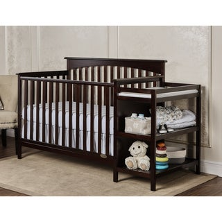 Dream on Me Chloe Espresso Wood 5-in-1 Convertible Crib with Changer