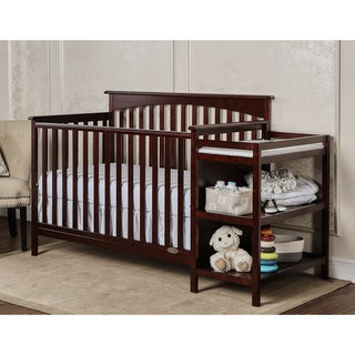 Dream On Me Chloe Cherry Wood 5-in-1 Convertible Crib and Changer