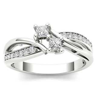 De Couer 10k White Gold 1/3ct TDW Diamond Two Stone Engagement Ring - White H-I