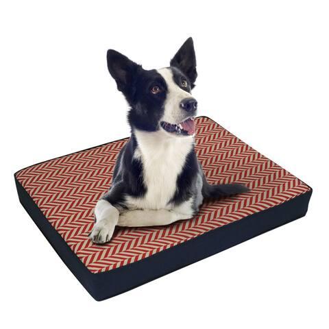 EZ Living Home Herringbone Water Repellent Memory Foam Pillow Dog Bed