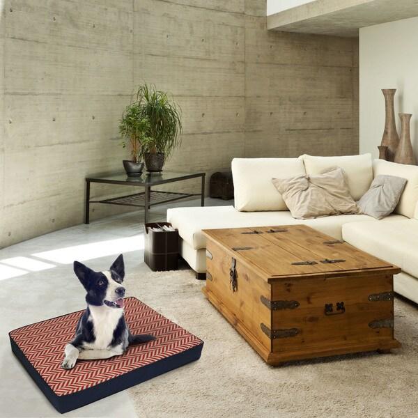 EZ Living Home Herringbone Water Repellent Memory Foam Pillow Dog Bed Free