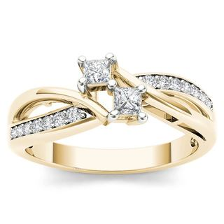 De Couer 10k Yellow Gold 1/3ct TDW Diamond Two Stone Engagement Ring