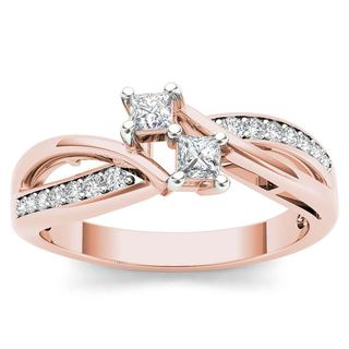 De Couer 10k Rose Gold 1/3ct TDW Diamond Two Stone Engagement Ring - Pink