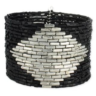 Black Bead Gold Diamond Cuff Bracelet