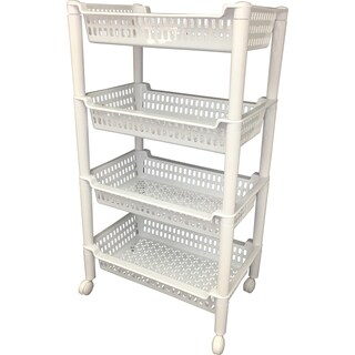White Plastic 4-tier Rolling Cart