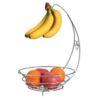 Wee's Beyond Silver Metal Fruit Bowl with Banana Hook