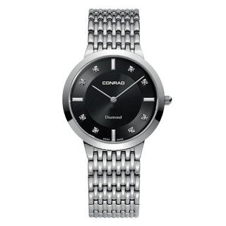 Conrad Men's Stainless Steel Swiss Diamond Accent Watch