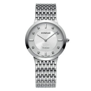 Conrad Men's Silvertone Stainless Steel Diamond Accent Watch