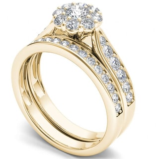De Couer 14k Yellow Gold 1ct TDW Diamond Double Halo Bridal Ring Set