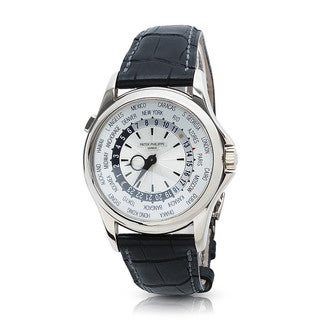 Pre-Owned Patek Philippe World Time 5130G Mens Watch in 18K White Gold