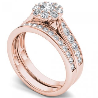 De Couer 14k Rose Gold 1ct TDW Diamond Double Halo Bridal Ring Set - Pink