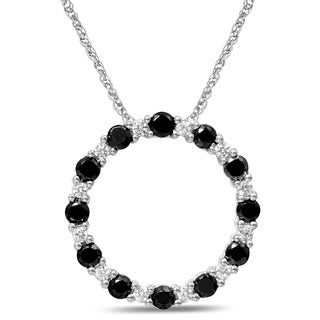 Unending Love 10k White Gold 3/4ct TDW Black and White Diamond Pendant (I-J, I1-I2)
