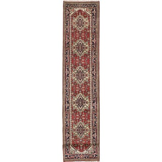 eCarpetGallery Serapi Heritage Blue/Brown/Red Wool/Cotton Hand-knotted Runner Rug (2'7 x 19'6)