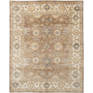eCarpetGallery Brown Wool/Cotton Royal Ushak Hand-knotted Rug (8'0 x 10'0)