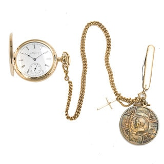 Pre-Owned Men's Vintage 1930s Elgin Pocket 80496 Watch in 14K Gold with Chain & Fobs