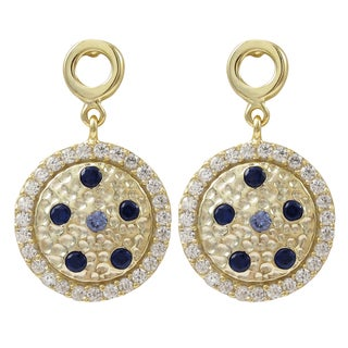 Luxiro Gold Finish Sterling Silver Lab-created Sapphire Hammered Circle Earrings