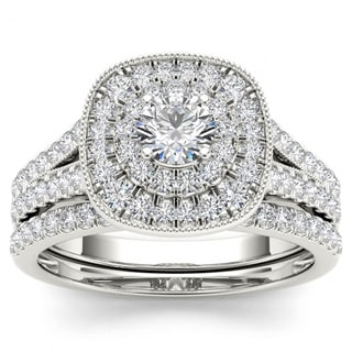 De Couer 14k White Gold 3/4ct TDW Diamond Double Halo Bridal Ring Set (H-I, I2)