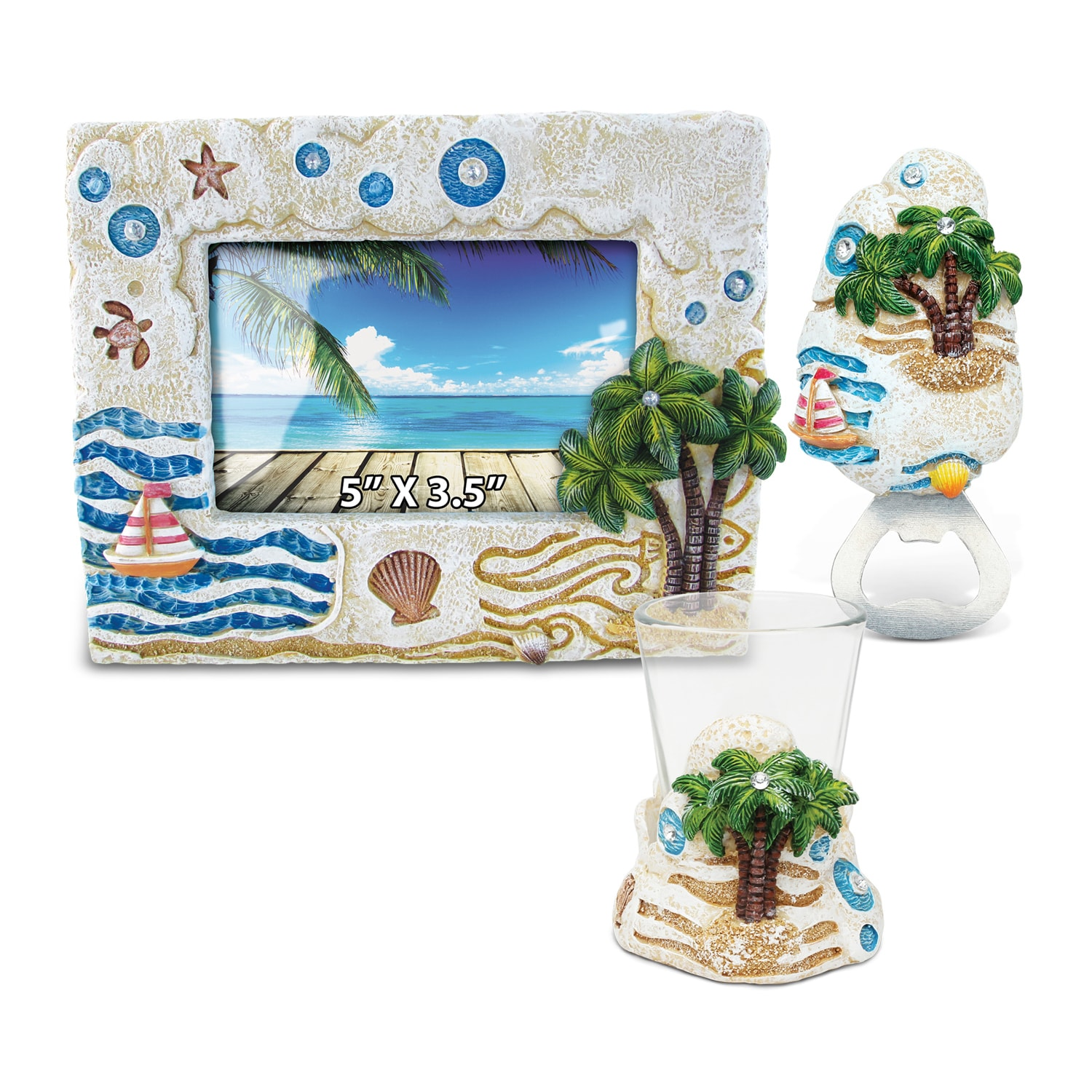 Puzzled Home Decor Value Pack Palm Tree Resin Stone colle...