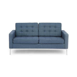 Kardiel Florence Knoll Style Loveseat, Premium Fabric Upholstery