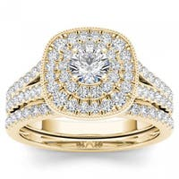 De Couer 14k Yellow Gold 3/4ct TDW Diamond Double Halo Bridal Ring Set