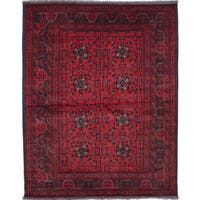 eCarpetGallery Khal Mohammadi Red Hand-knotted Wool Rug (5' x 7')