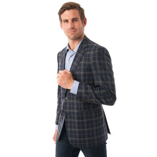 Men's Navy and Grey Plaid Classic-fit Blazer (More options available)