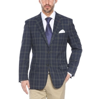 Men's Navy and Grey Plaid Classic-fit Blazer