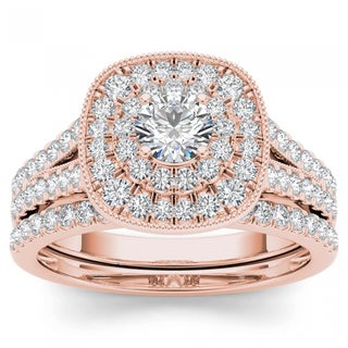 De Couer 14k Rose Gold 3/4ct TDW Diamond Double Halo Bridal Ring Set - Pink