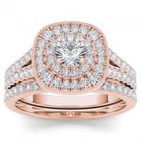 De Couer 14k Rose Gold 3/4ct TDW Diamond Double Halo Bridal Ring Set - Pink