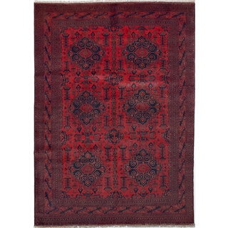"""ECARPETGALLERY Khal Mohammadi Red Hand-Knotted Wool Rug (8' x 11') - 8'1""""x11'2"""""""